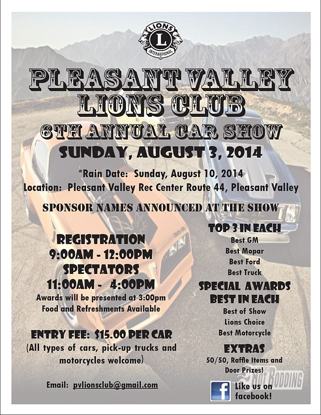 Pleasant Valley Lions Club Car Show 2014